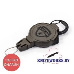 Ретрактор T-REIGN большой, с карабином, хаки без блестящих деталей