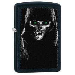 Zippo Hooded Skull Black Matte