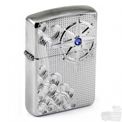 Zippo Luxury Waves With Blue Crystal