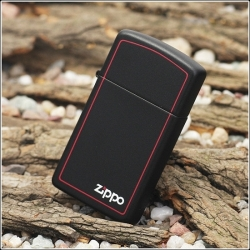 Zippo Slim® Black Matte w/Zippo® & Border