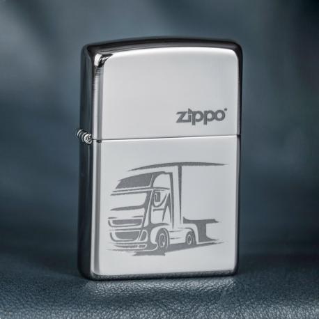 Zippo Diesel Truck, Engraved - High Polish Chrome