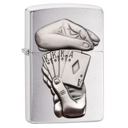 Zippo Full House Emblem, Bruched Chrome