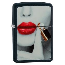 Zippo Lips Locked - Black Matte