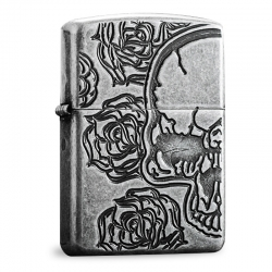 Zippo Armor Skull and Roses - Antique Silver Plate
