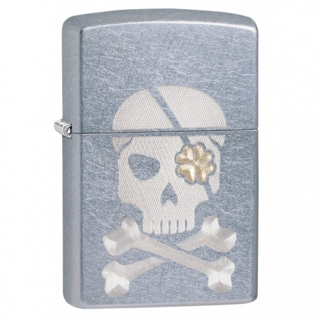 Zippo Engraved Skull and Shamrock - Street Chrome