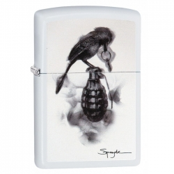 Zippo Spazuk Grenade with Bird - White Matte