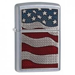 Zippo American Flag Emblem - Street Chrome