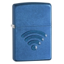 """Zippo """"WiFi Stamp"""" Cerulean Blue Finish"""