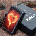 Zippo Black Matte Burning Heart