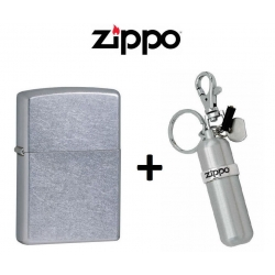 Zippo Street Chrome Lighter 207 & Fuel Canister Combo Set