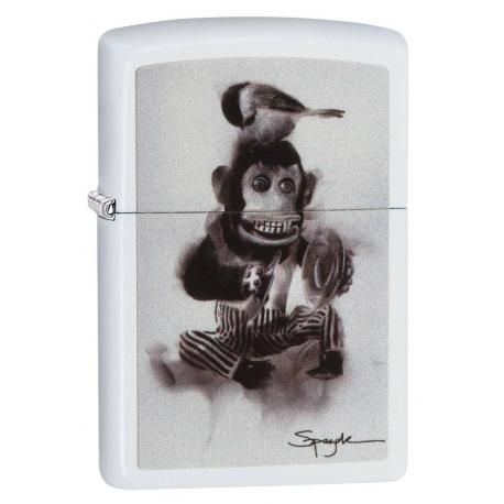 """Zippo """"Spazuk-Monkey With a Bird"""" White Matte"""